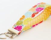Key Chain, Fabric Key Fob, Key Strap - Pink Summer Flowers, Orange, Yellow, Blue