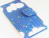 Rainbow Wallet, Women's Clutch, Bifold Vegan Wallet, Clouds and Raindrops, Blue and Pink - Made to Order