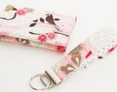 Wallet Gift Set , Small Card Case and Matching Key Chain, Flowers and Birds in Pink and Cream