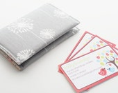Card Holder Fabric, Business Card Case with snap closure, Dandelions, Grey and White