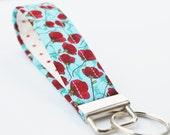 Red Poppy Keychain, Fabric Key Fob, Handmade Key Strap - Red, Aqua, and White