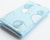 Rain Cloud Business Card Holder , Card Case with snap closure, Small Wallet. Rainbow Rain, Light Blue