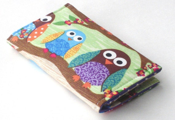 Owl Business Card Holder, Handmade Credit Card Case, Woodland Animals, purple