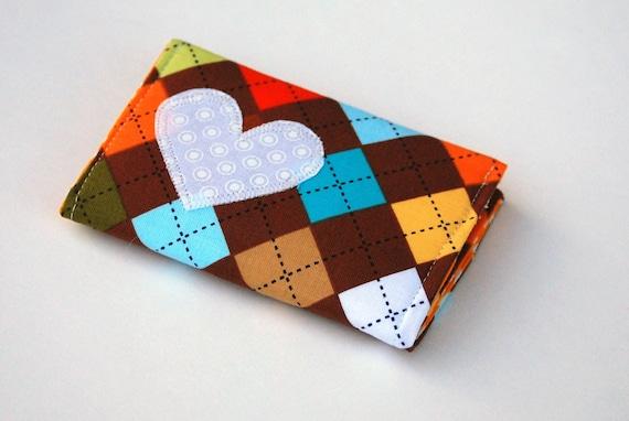 Heart Wallet, Card Case, Business Card Holder, Argyle in Chocolate, Marigold, Blue, Orange, Red, Green