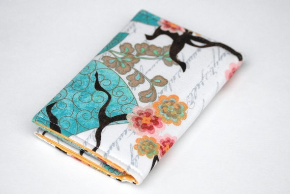 Card Holder Fabric, Business Card Case with snap closure, birds, buttercup and pink flowers