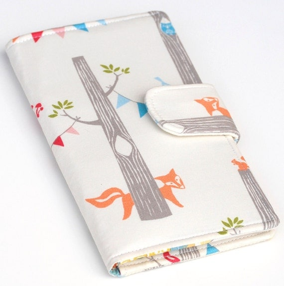 Fox Wallet Bifold, Organic Fabric Woodland Party , Vegan Wallet Blue, Yellow, Grey, Made to Order
