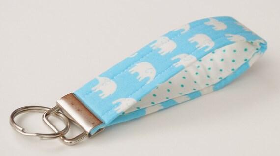 Key Fob, Wristlet Fabric Keychain, White Elephants on Bright Blue