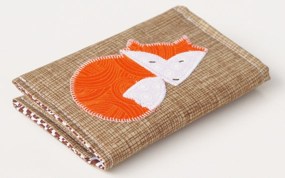 Business Card Case, Fox Applique Wallet, Organic Fabric Woodland theme