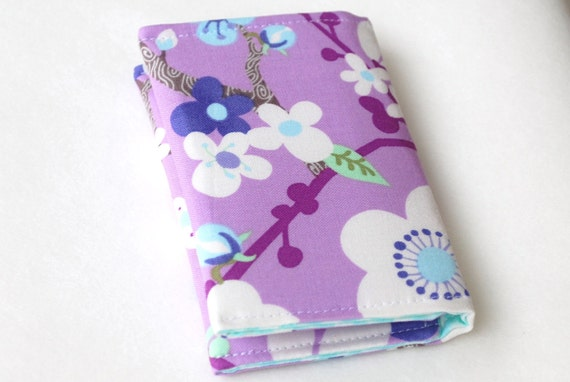 Business card case, small wallet, lilac, light blue, and white flowers