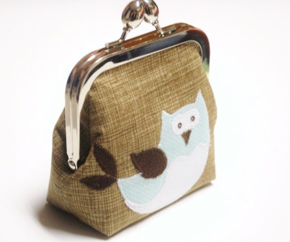 Owl Coin Purse, Makeup Bag, Metal Clasp Applique Pouch in Organic Fabric, Khaki, Light Blue, and White