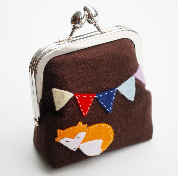 Fox Purse, Rainbow Bunting, Small Hand Sewn Wool Felt Applique Coin Pouch in Dark Brown - MADE to Order