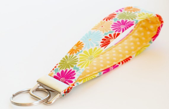 Key Chain, Fabric Key Fob, Key Strap - Pink Summer Flowers, Orange, Yellow, Blue
