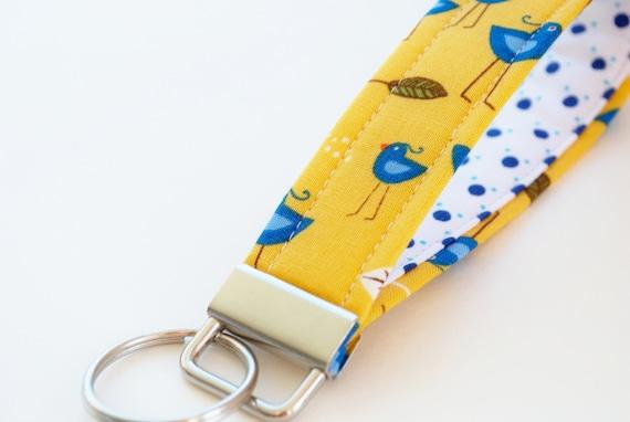 Key Fob, Wristlet Keychain, Blue Birds on Marigold Yellow Fabric