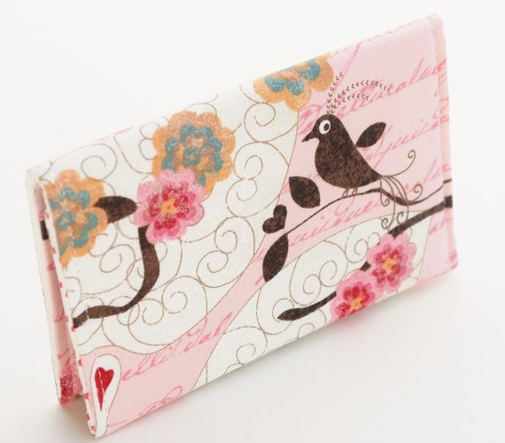 Pink Business Card Holder, Small Fabric Vegan Wallet, Birds and Flowers