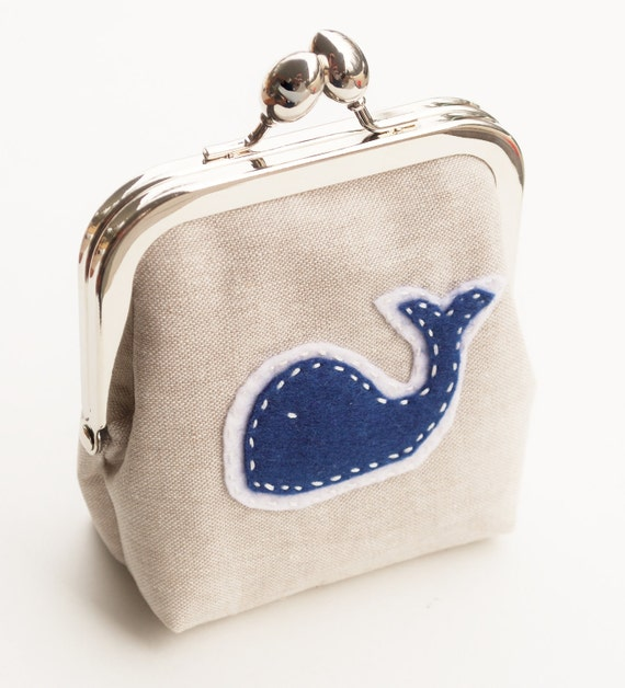 Linen Coin Purse Blue Whale, Small Fabric Kisslock Snap Bag, Hand Sewn Wool Felt Applique Pouch in Oatmeal and Navy - Made To Order
