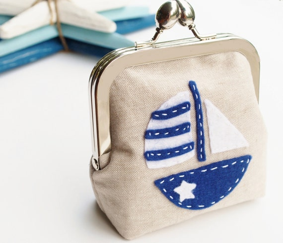 Linen Coin Purse Sailboat, Nautical Applique Pouch in Oatmeal, Navy and White, Small Fabric Kisslock Snap Bag