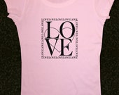LOVE - design 04 printed on Women's Short Sleeve Scoop Neck T-Shirt Contoured Fit - Sizes S, M, L, XL