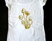 Mushrooms 01 - printed on Ladies Sheer Rib Scoop Neck Tee Sizes S, M, L, XL