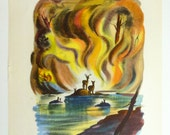 Vintage Book Print - 1941 Bambi Watching the Forest Fire and Faline with New Babies