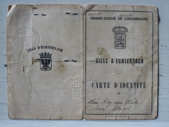 Luxembourg Identity Papers Dated 1939