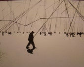 """Lithograph. Figures in the Horizon Landscape. Black Ink on Handmade Paper from Dieu Donne Papermill. 14""""x8"""" Print."""