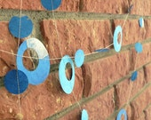 Turquoise Blue with Cream Colored Pressed Flower Paper Garland 8.5ft