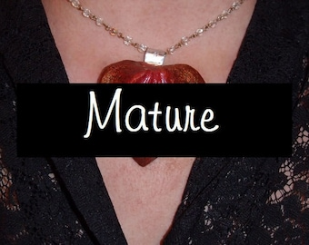 Mature- Fiery Yoni Pendant on up-cycled Linked crystal chain