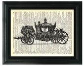 VintageClips Art Print T014 - Vintage carriage printed on vintage dictionary page.