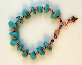 Arizona Turquoise Nuggets with USA Mined Copper Beads Bracelet