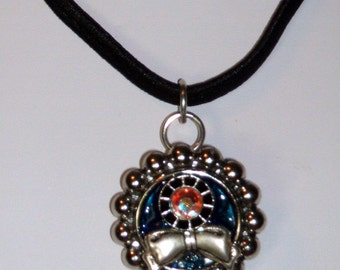 Blue Beaded Floral Pendant Cap Choker with Swarovski Crystals & Classic Bow