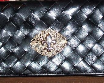 Leather Clutch-Neo Victorian with Fleur De Lis Cabochon
