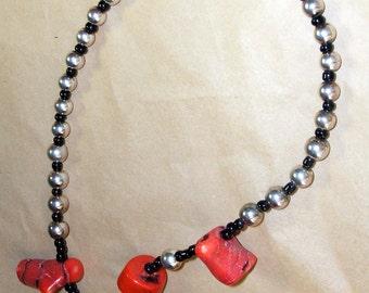 Genuine Red Sponge Coral & Sterling Silver Necklace