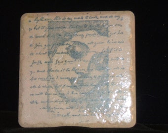 The Madonna with French Script 4 Handmade Coaster