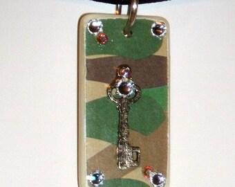 Camouflage Key Domino Pendant Necklace