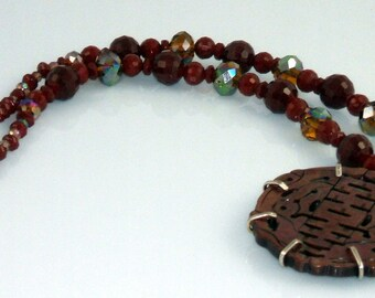 Asian Inspired Brown Crystal Sterling Silver Reversable Necklace