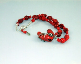 Handmade Wire Wrapped Red Sponge Coral Necklace with an Inspirational Organic Coral Rock