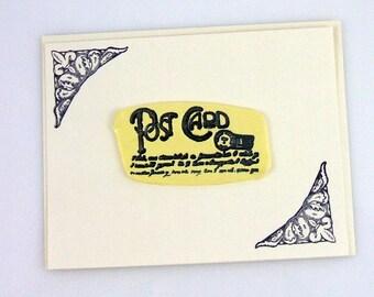 Fleur De Lis Post with French Script Handmade Greeting Card