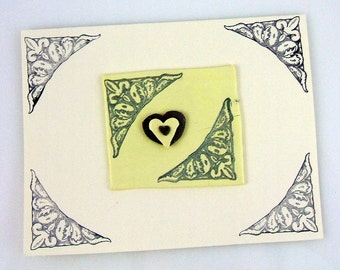 Fleur De Lis Heart Handmade Greeting Card