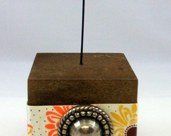 Photo Cube - Brown Floral Print with Antique Silver Cabochon