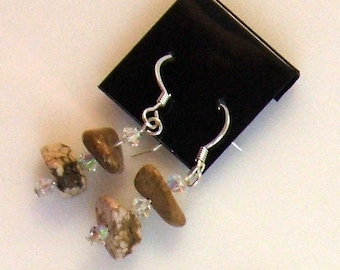 Mauve Turquoise Sterling Silver with Swarovski Crystals Earrings