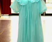 60s Vintage Sheer Turquoise Flouncy Peignoir Set Mad Men