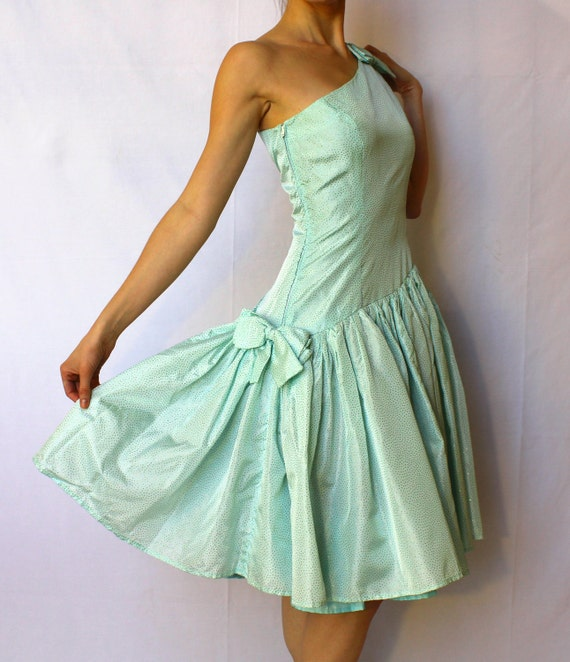 Vintage Prom Dress Mint Green Glitter Bow One Shoulder Party Dress 1980s