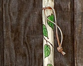 Hiking Stick - Hiking Staff - Walking Stick - Hand Painted - Wood Burned - Vines