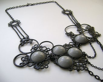 SALE 50% OFF black and grey powdercoated statement necklace, one of a kind piece