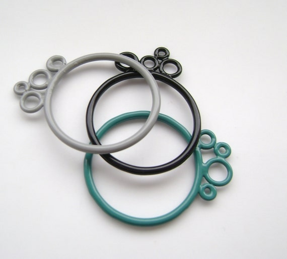 black grey and turquoise stacking bubble rings Sale 50% off!