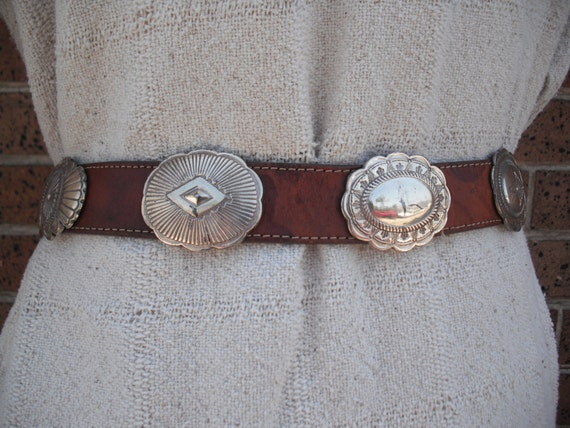 Vtg brown and silver concho belt