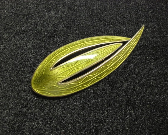 Sage Green Aksel Holmsen Fluid Enameled Sterling Silver Brooch Unusual Color