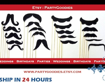 20 Mustache On a Stick - Photo Booth Props - Party - Wedding PhotoBooth Prop - Birthday