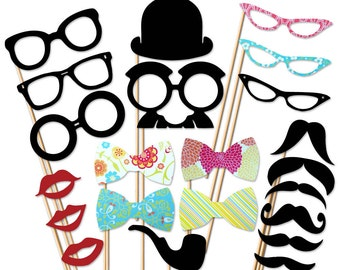 Photo Booth Props - 22 Piece Party Set On a stick - Wedding Prop - Birthday Photobooth Props