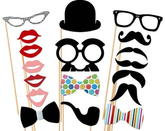 Wedding Photo Booth Party - 18 Piece Photobooth Props Set - Birthday - Mustache On a Stick